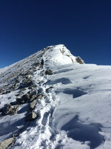 Ashley making the final push to the Summit. Mount Temple, Alberta.
