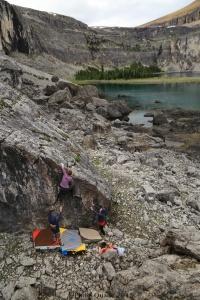 Danielle Jamieson on a monster boulder, Rockbound Lake, Banff